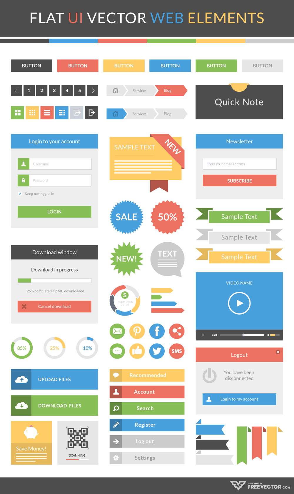 Flat UI Vector Web Elements