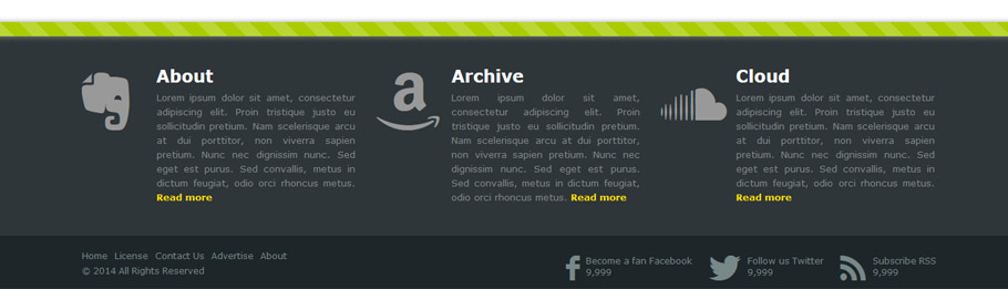 Stylish responsive footer - result
